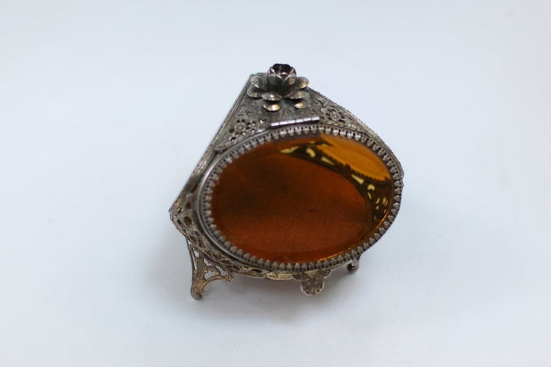Antique Rare Floral French Victorian Amber Glass Jewelry Box