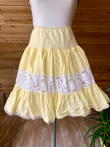 Vintage Yellow Lace Tiered Skirt