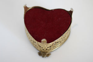 Antique Matson Heart Shaped Filigree Jewelry Box