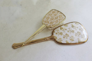 Antique Brocade Gold Floral Vanity Set