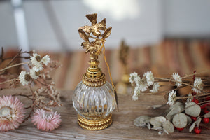 Antique Stylebuilt Birds Dogwood Flowers Perfume Bottle