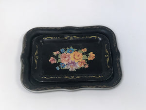 Antique Black Floral Tray Set