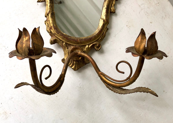 Antique Florentine Gold Gild Candle Holder Mirror Wall Mount