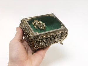 Antique Turquoise Floral Jewelry Music Box