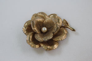 Large Rose with Pearl Brooch