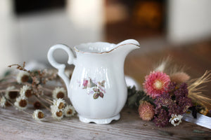 Antique Floral Rose Porcelain Creamer