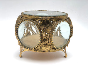 Antique Floral Bronze Filigree Jewelry Box