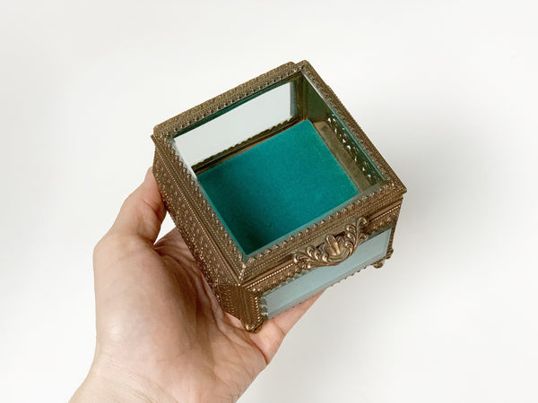 Antique Turquoise Square Jewelry Box