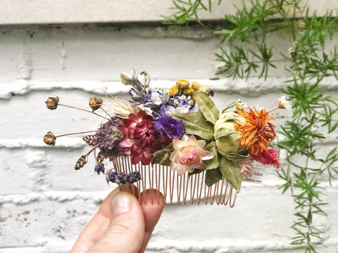 Summertime Dried Flowers Hair Comb