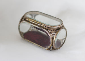 Vintage French Ormolu Filigree Jewelry Box