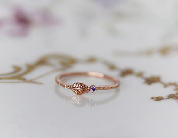Asteria Amethyst Leaf Ring
