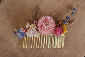 Rustic Dried Flowers Hair Comb