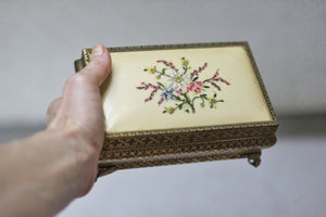 Antique Petite Point Floral Embroidered Trinket