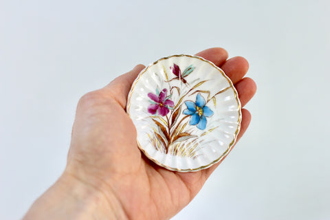 Antique Blue Pink Floral Porcelain Ring Dish