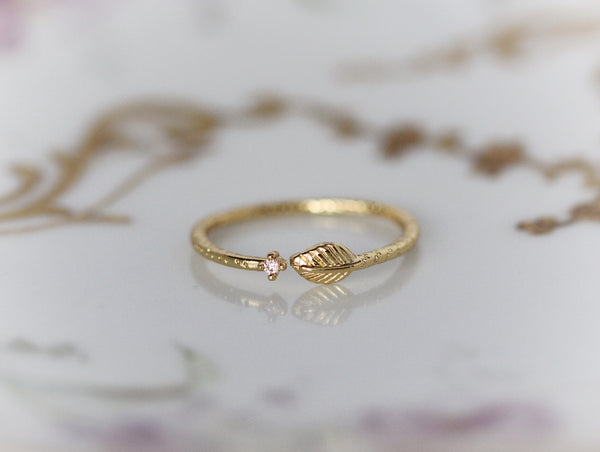Asteria Citrine Crystal Leaf Ring
