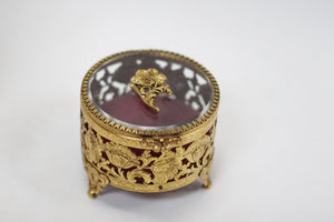 Antique Floral Gold Filigree Jewelry Box