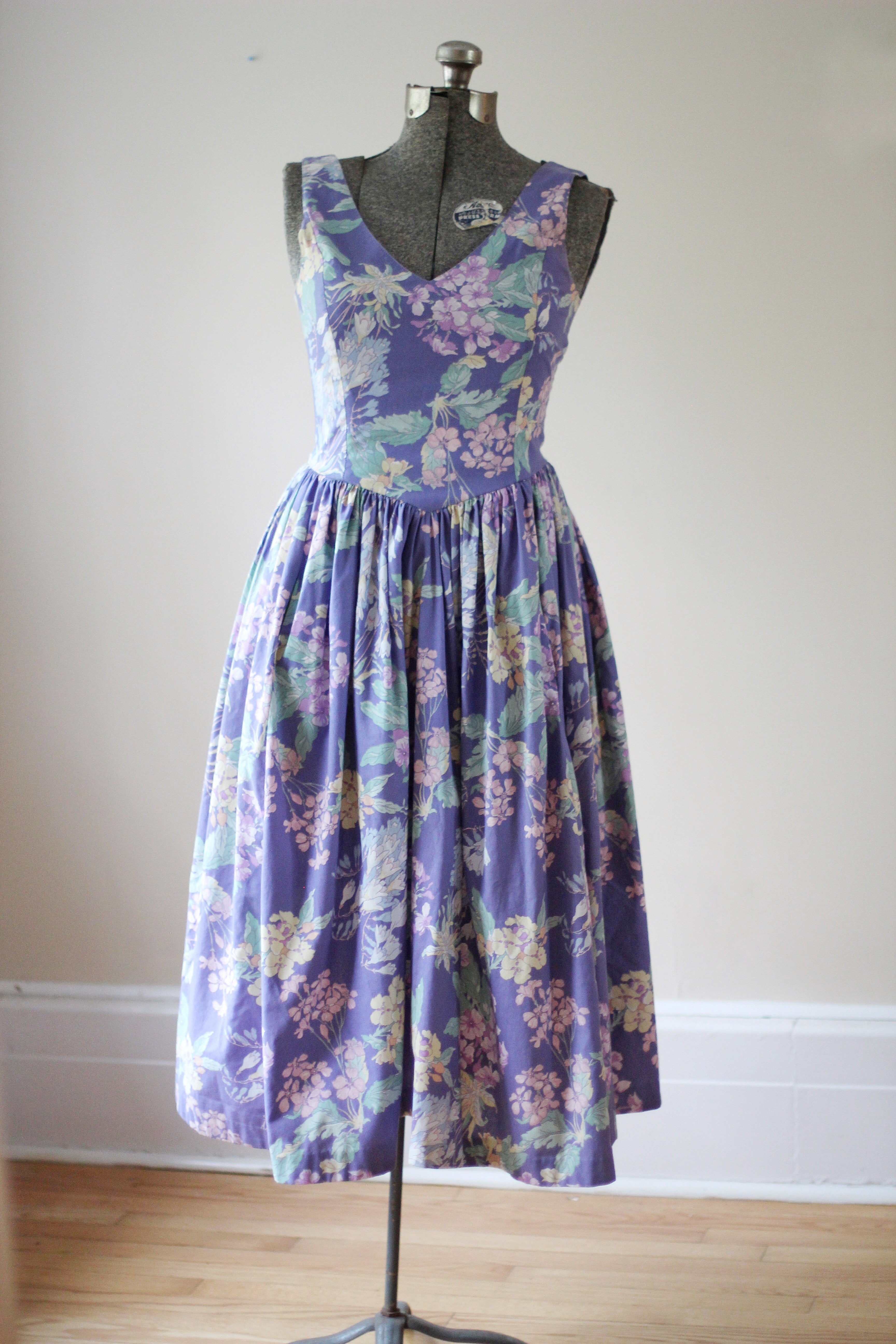 Vintage Hydrangea Floral Purple Laura Ashley Dress