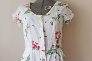 Vintage White Pink Floral Carol Anderson Dress