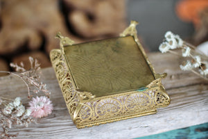 Antique French Filigree Pink Satin Jewelry Box