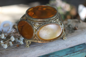 Vintage Amber Tinted Glass Jewelry Box