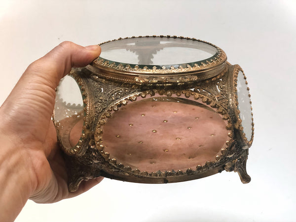 Antique Rose colored Tuft Padding French Victorian Jewelry Box