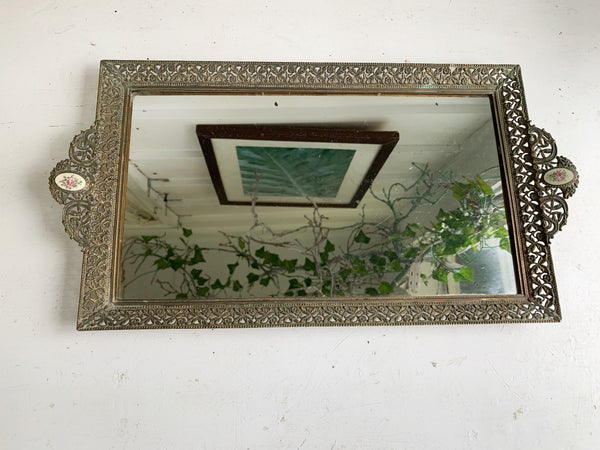 Antique Rectangle Floral Lace Mirror Tray