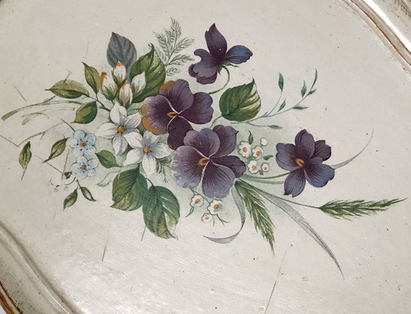 Vintage Florentine Wood White Floral Tray