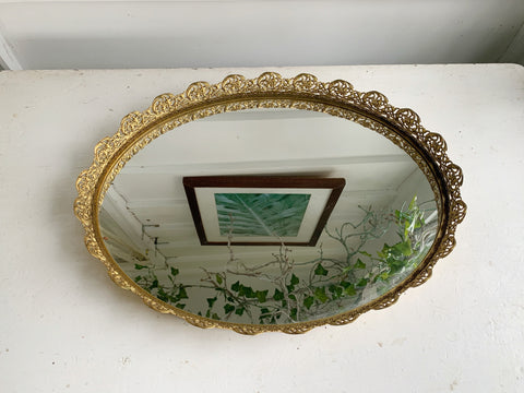 Large Lace Antique Mirror Tray