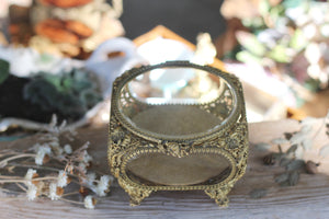 Antique French Victorian Glass Jewelry Box
