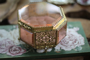 Antique Rare Pink Tufted Jewelry Box