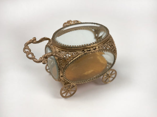 Antique Carriage Gold Filigree Jewelry Box