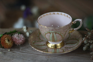 Vintage Pink Gold Mint Tuscan Tea Cup Set