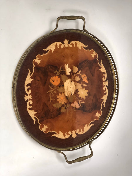 Antique Marquetry Wood Floral Tray
