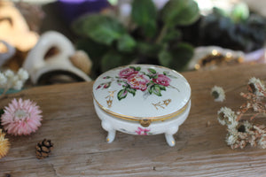Antique Floral Porcelain Trinket