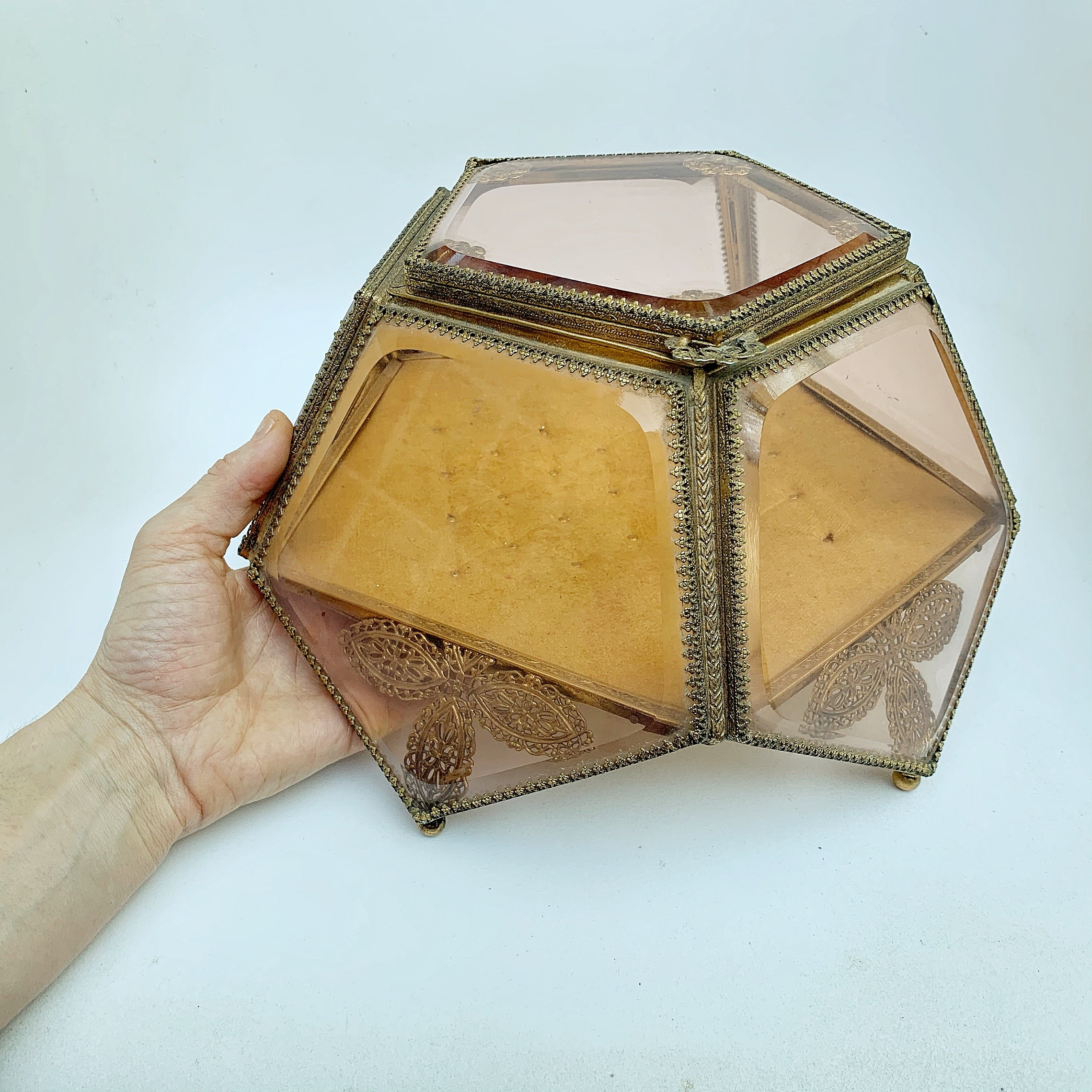 Antique Amber Tinted French Victorian Rare Jewelry Box
