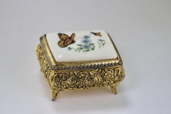 Antique Brass Flowers and butterflies Jewellery Box