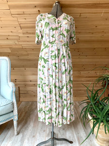 Vintage Pink White Floral Flowers Carol Anderson Dress