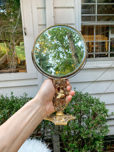 Vintage Birds Matson Standing Vanity Mirror 2 Sided Magnifier
