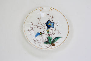 Antique Blue Floral Porcelain Ring Dish
