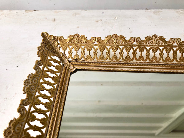 Antique Rectangle Lace Mirror Tray