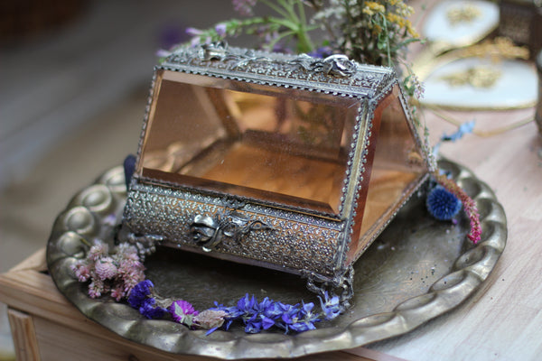 Antique Unique Floral Amber Jewelry Box