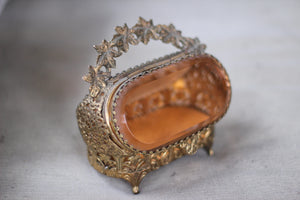 Antique Rare Amber Tinted Jewelry Box