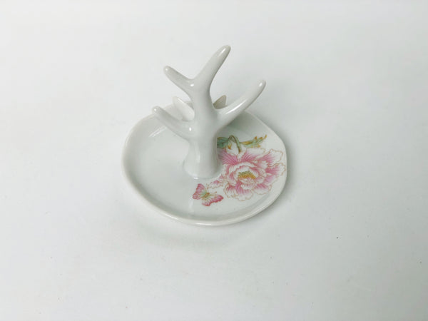 Antique Butterfly Flowers Porcelain Ring Holder