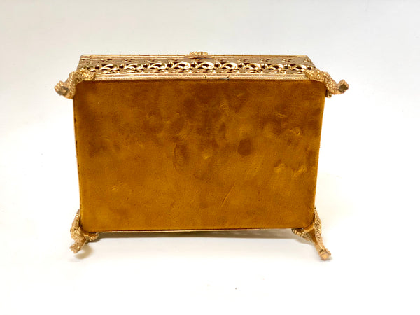 Vintage Lion Feet Gold Filigree Jewelry Box