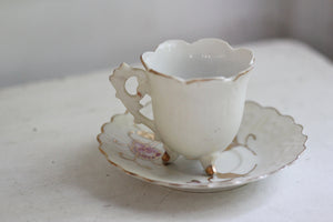 Antique Pink Gold Flowers Tea Cup