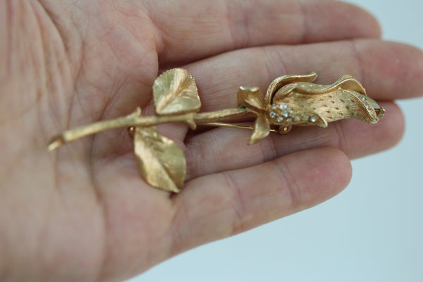 Rose With Crystals Brooch