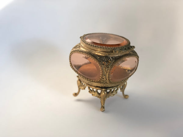 Rare Amber Tinted French Victorian Jewelry Box