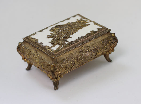Antique Brass Floral Jewellery Box