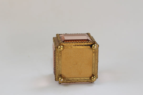 Antique French Victorian Amber Glass Jewelry Box