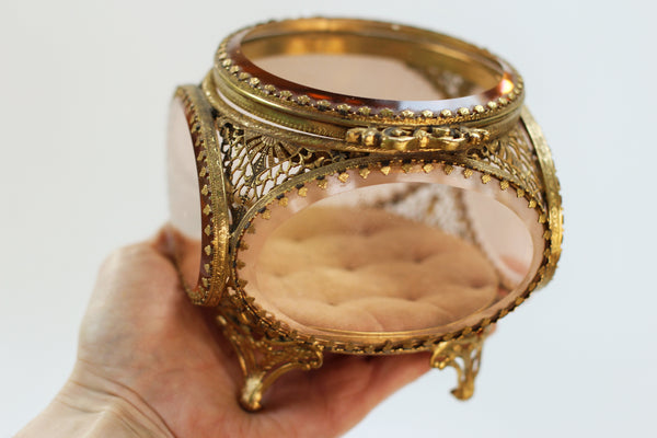 Stylbuilt Amber Tinted French Victorian Jewelry Box